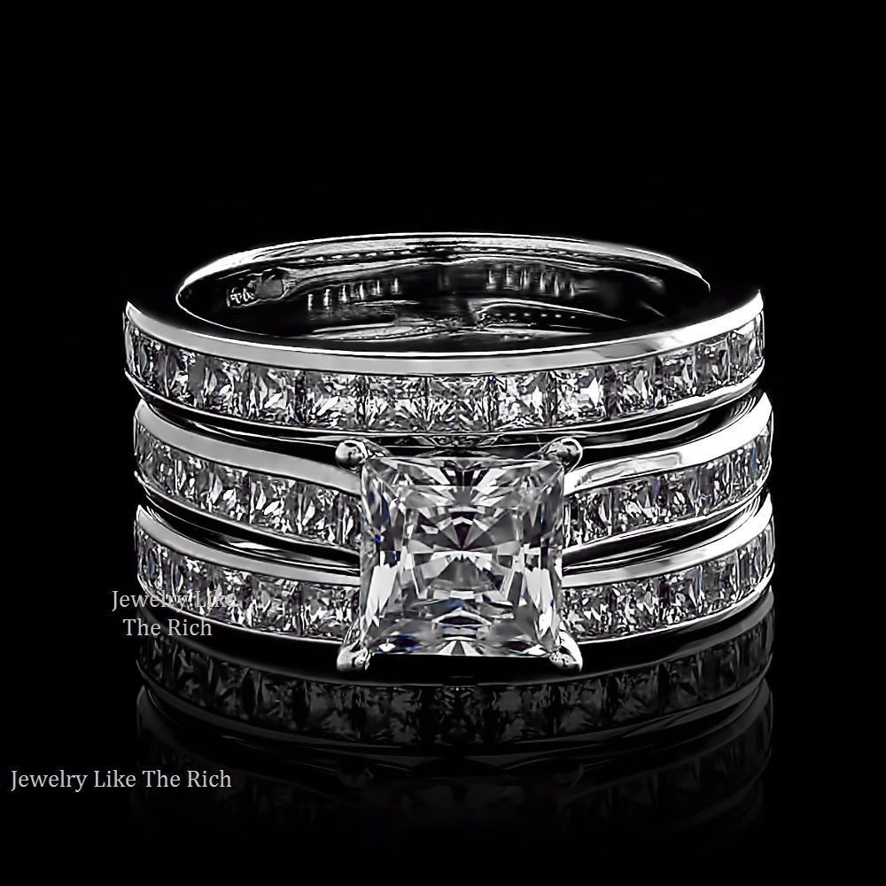 Princess Cut Diamond Wedding Band: Princess Diamond Cut Engagement Ring 3pc Wedding Band Set