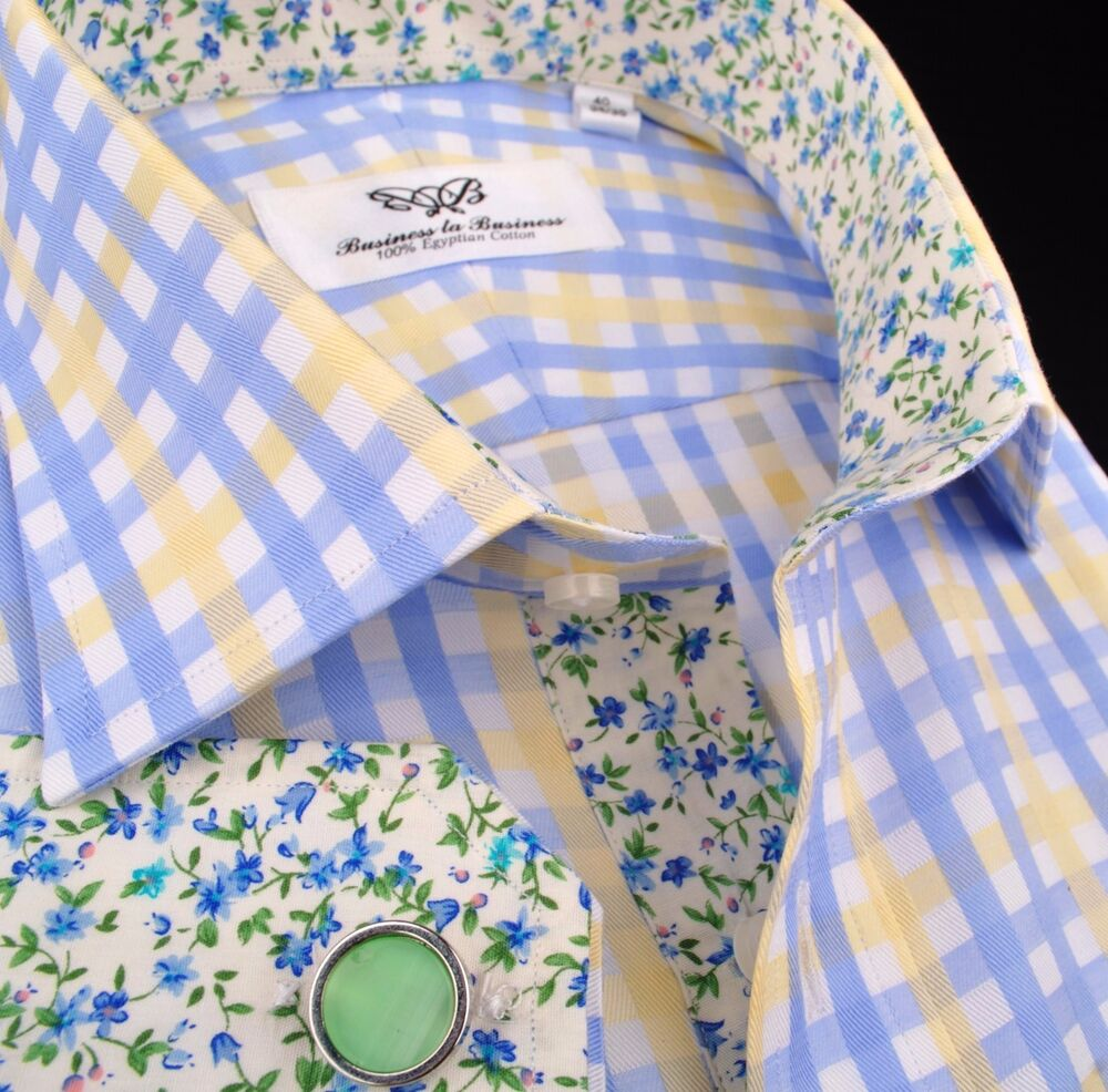 Yellow blue checkers double plaid shirt business formal for Blue and yellow plaid dress shirt