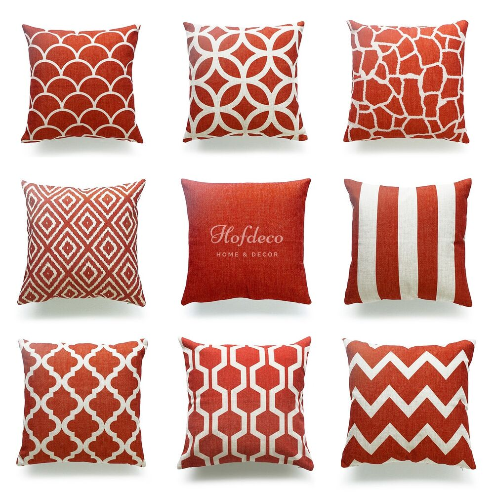 Decorative throw pillow case burnt orange heavy weight - Fabric for throw pillows ...