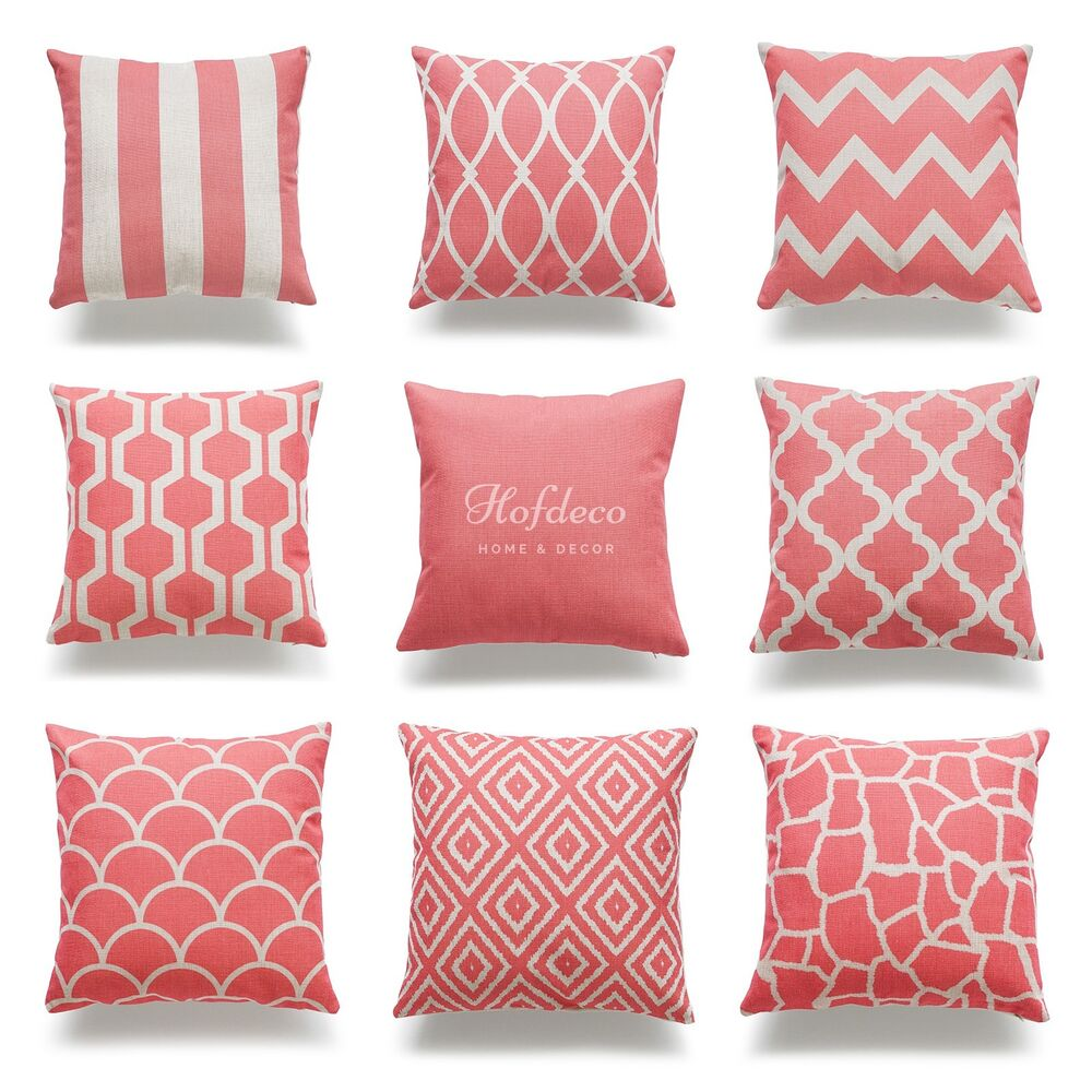 Decorative throw pillow case coral pink heavy weight - Fabric for throw pillows ...