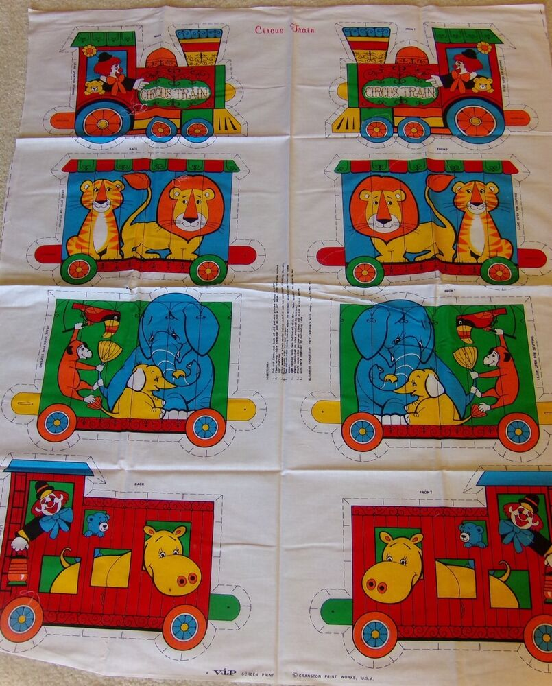 Cranston print works circus train cut n sew fabric panel for Train print fabric