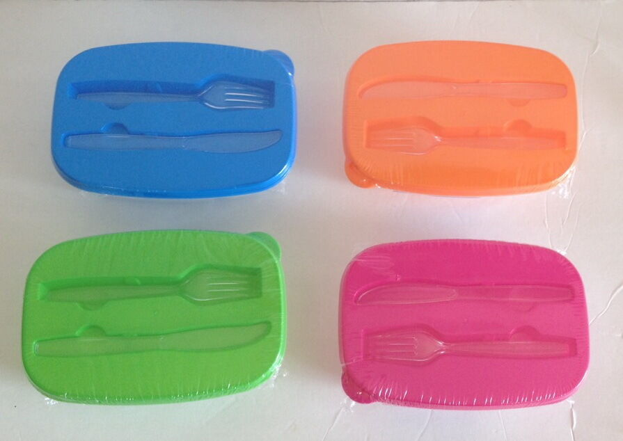 Divided Plastic Lunch Box Microwavable Food Storage