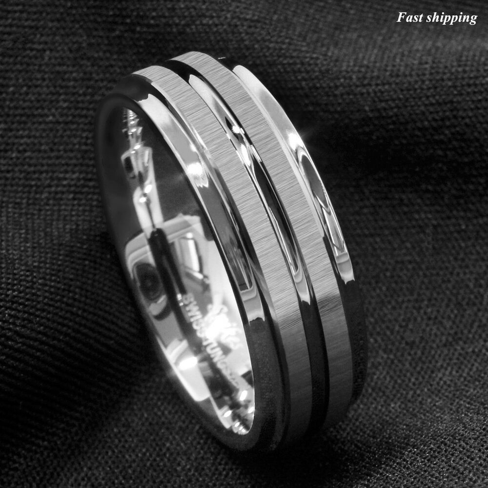 8mm silver tungsten carbide ring two vertical brushed