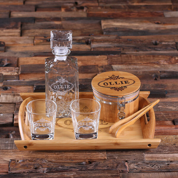 personalized whiskey decanter set ice bucket w   tong  whiskey glasses  wood tray