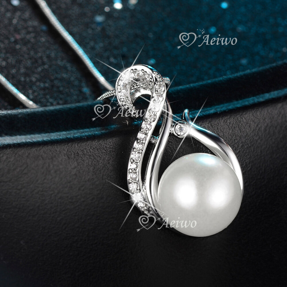 White Pearl Pendant Necklace: 18K WHITE GOLD GF MADE WITH SWAROVSKI CRYSTAL PENDANT