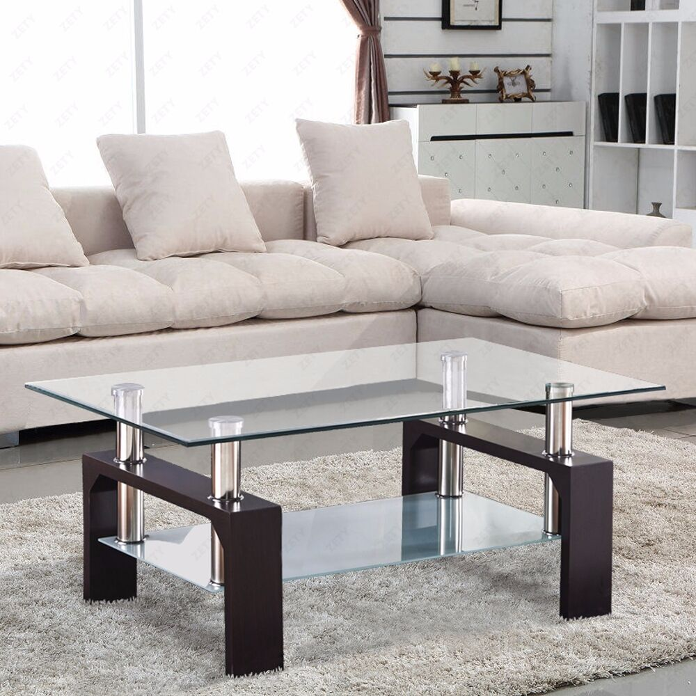 Glass coffee table shelf rectangular chrome walnut wood for Living room coffee table