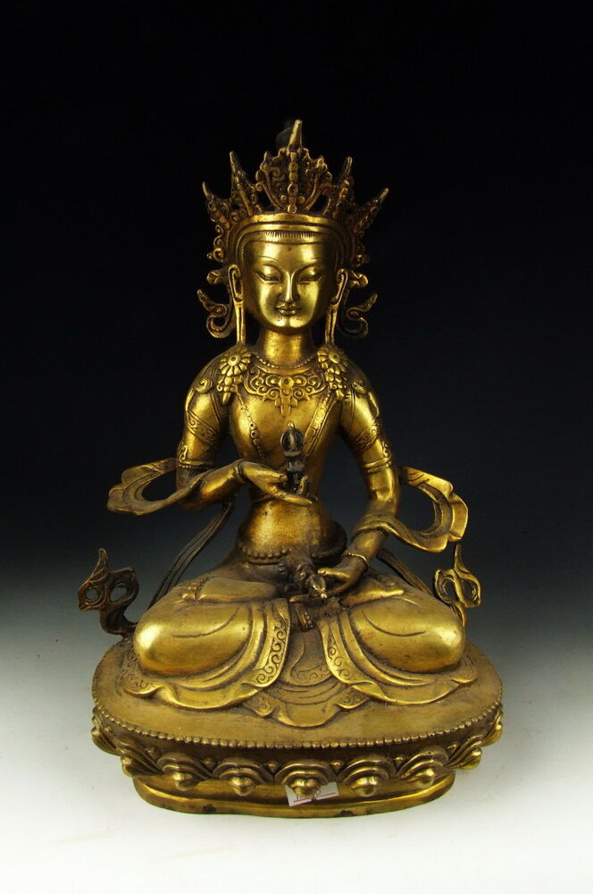 Chinese Antique Gilt Bronze Tibetan Buddha Statue Ebay