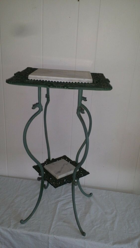 Ornate Cast Iron And Marble Top 2 Tier Fern Plant Stand