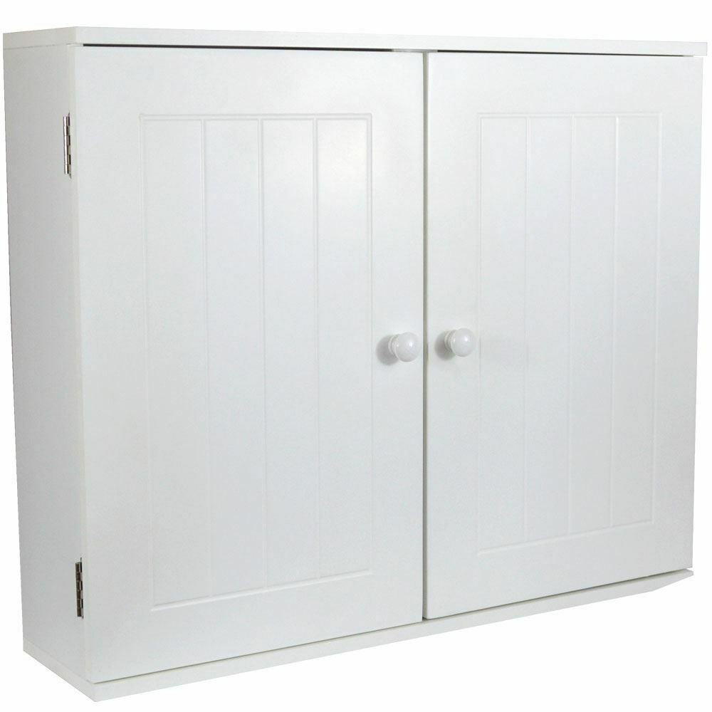 Priano bathroom wall cabinet 2 door white vanity cupboard for Bathroom 2 door wall cabinet