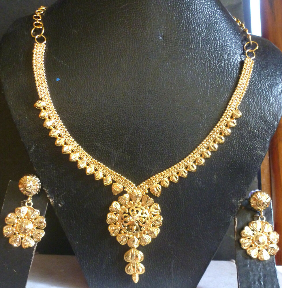Indian Bridal Necklace Set 22k: 22K Gold Plated Indian Wedding Fashion Necklace Earrings