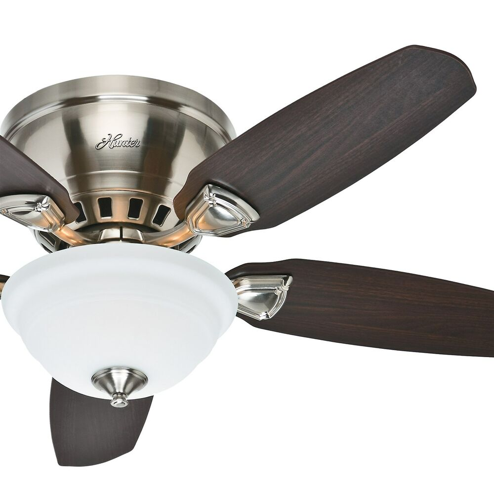 "Ceiling Fans Mount: Hunter 46"" Low Profile / Flush Mount Ceiling Fan Brushed"