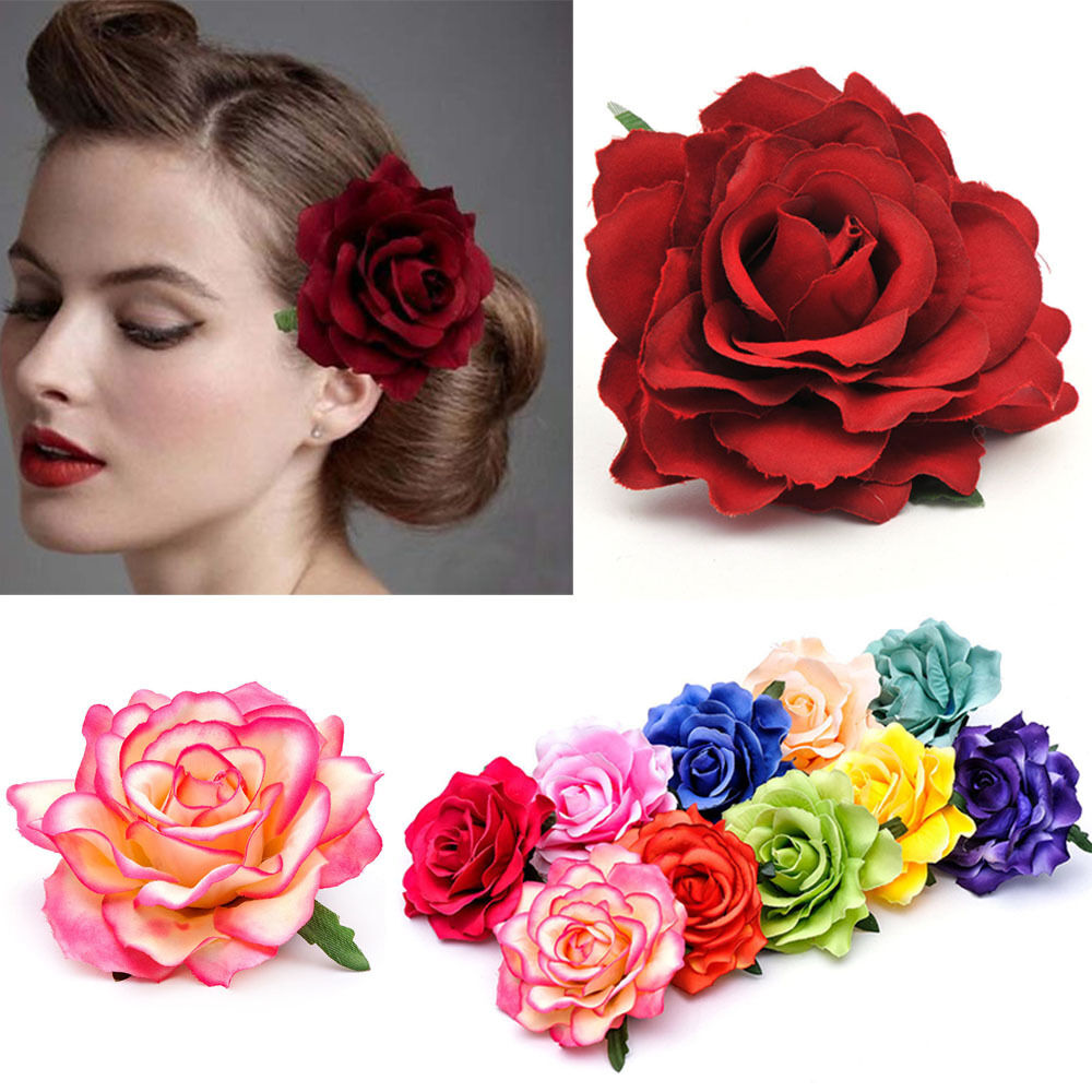 Flower Hair Pins For Wedding: Women Rose Flower Hairpin Brooch Wedding Party Hair Clip