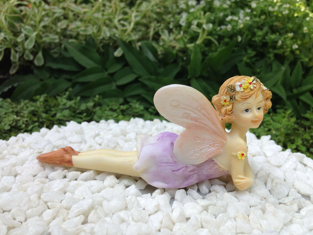 Miniature figurine fairy garden laying pastel flower for Fairy garden figurines