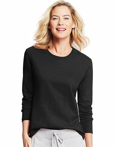 Hanes Women 39 S Long Sleeve Crewneck T Shirt O9133 Ebay