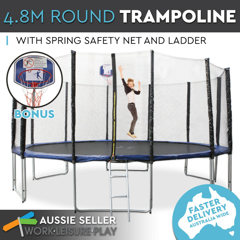 4.8m 16ft Trampoline Round Free Basketball Safety Net