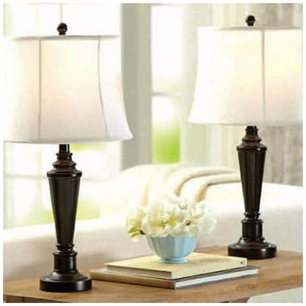 Set Of 2 Table Lamp Bedroom Living Room Nightstand Home