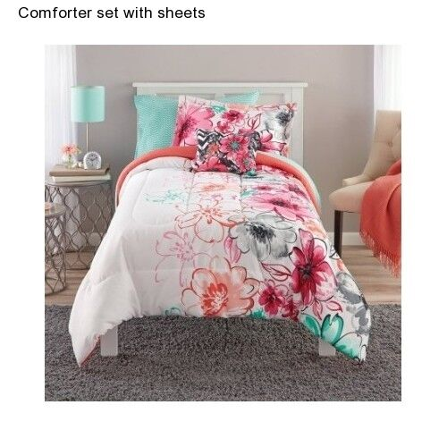 girl 39 s floral teen twin twin xl size bedding comforter set sheets pillow kid 39 s ebay. Black Bedroom Furniture Sets. Home Design Ideas