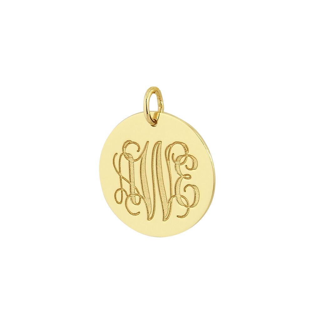 solid gold 3 initials monogram 3  4 u0026quot  circle disc charm pendant made in usa gc08