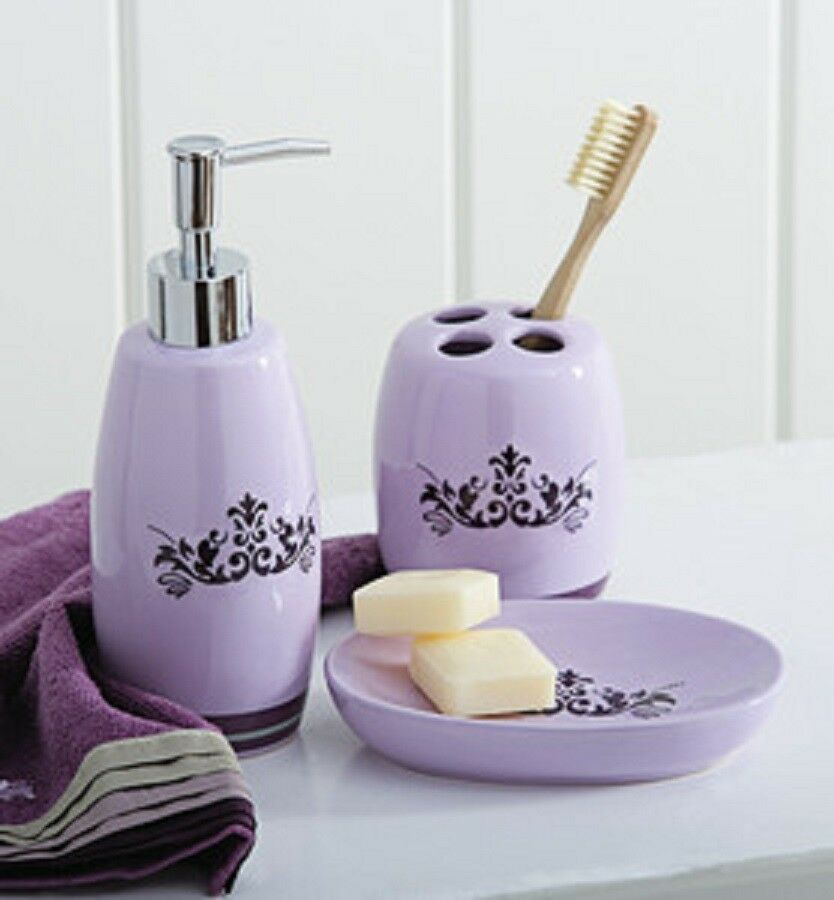 Set of three purple bath accessory set soap dish pump toothbrush ebay - Bathroom soap dish sets ...