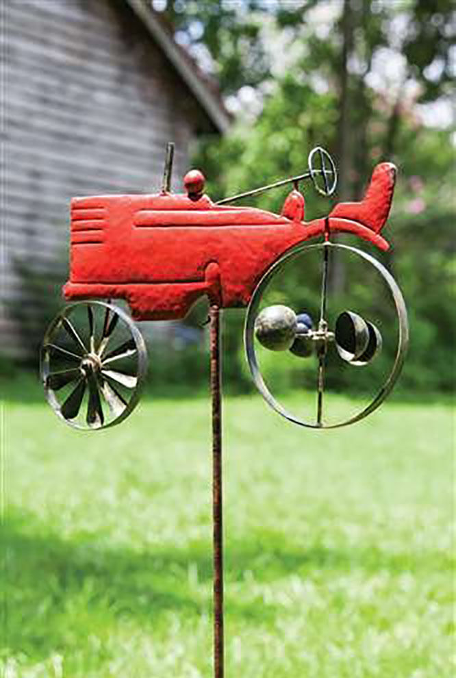 Tractor Garden Stakes : Vintage wind spinner red tractor kinetic garden stake lawn