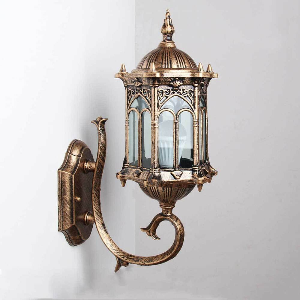 Vintage Outdoor Wall Lamps : Vintage Antique Exterior Wall Lantern Glass Lampshade Wall Sconces Lamp Fixture eBay