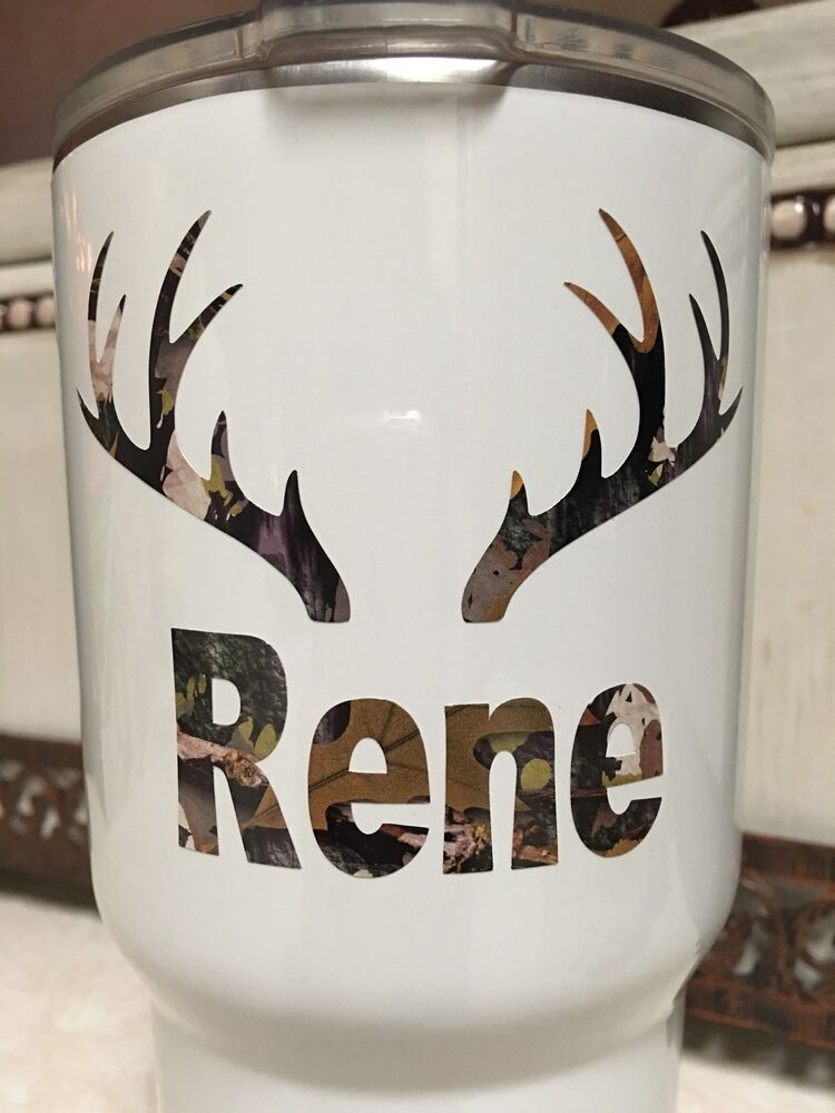 Deer Antlers Camouflage W Name Decal For Your Yeti Rambler