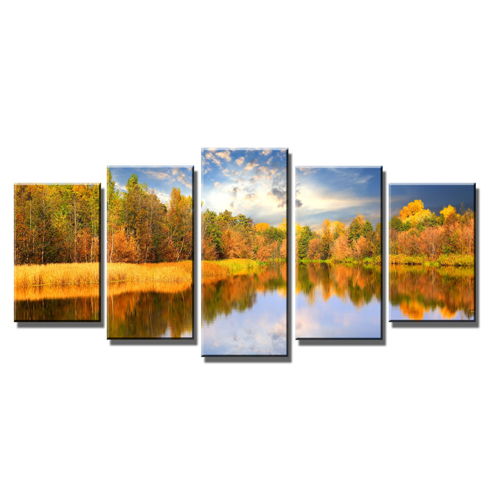 modern autumn landscape art canvas prints home wall art decor framed poster ebay. Black Bedroom Furniture Sets. Home Design Ideas