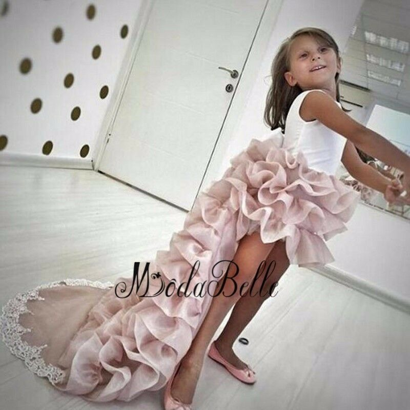 Girl dresses with long train high low pageant gown for kids ebay