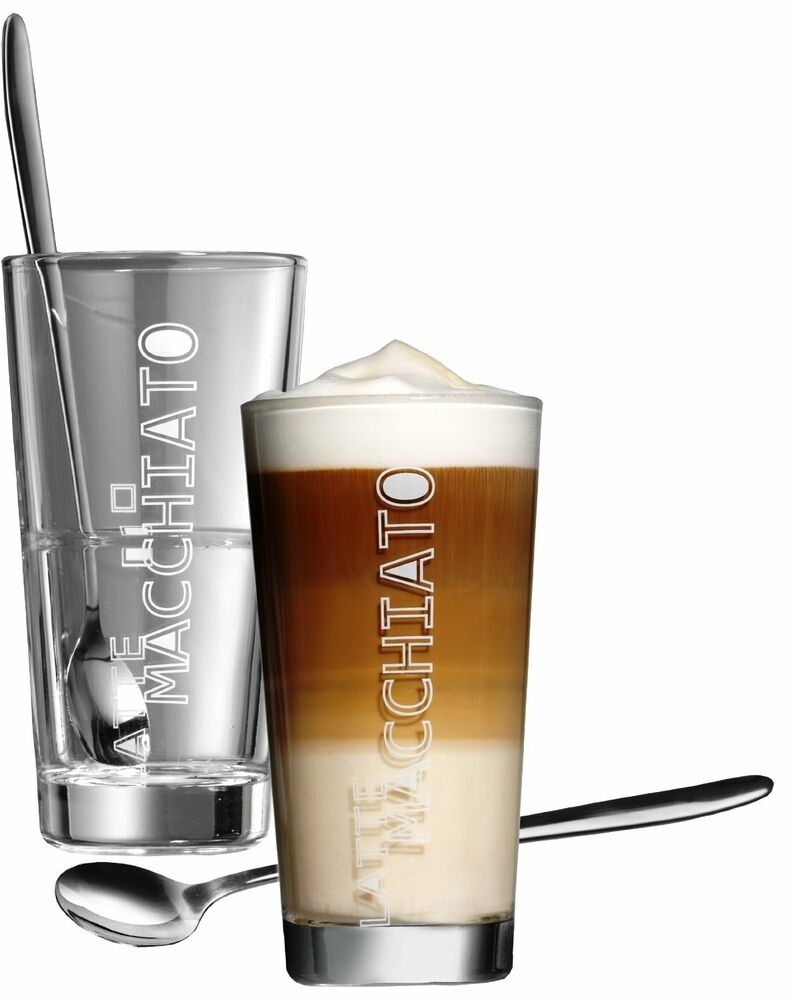 gl ser kaffeeglas kaffee latte macchiato glas becher l ffel aufschrift 4 teilig ebay. Black Bedroom Furniture Sets. Home Design Ideas