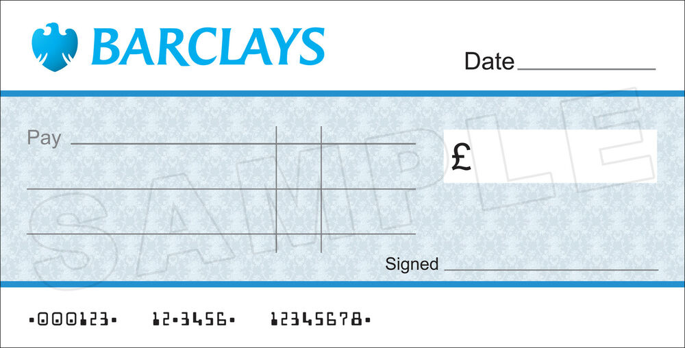 Large Blank Barclays Bank Cheque For Charity  Presentation  Ebay
