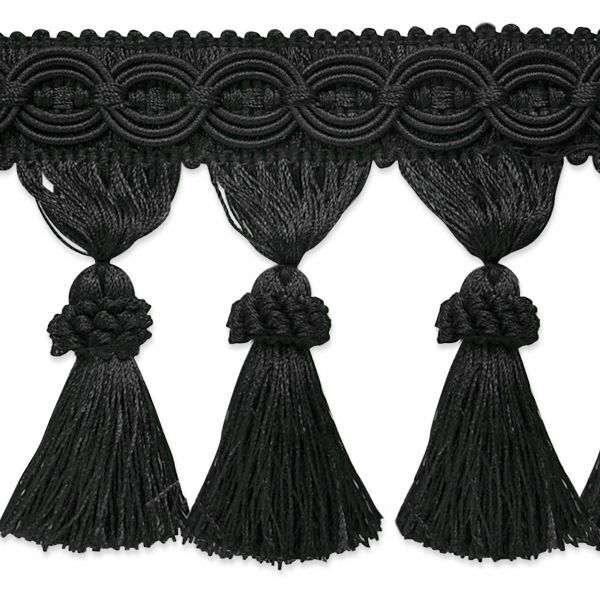 "4"" Black Fabric Tassel Fringe Lampshade Home Decor Trim By"