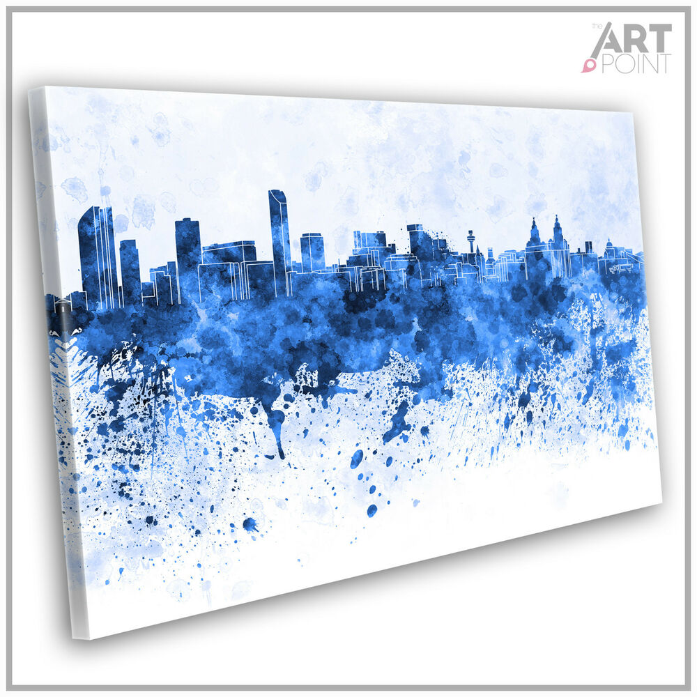 Everton canvas print liverpool skyline abstract framed for Blue paintings on canvas