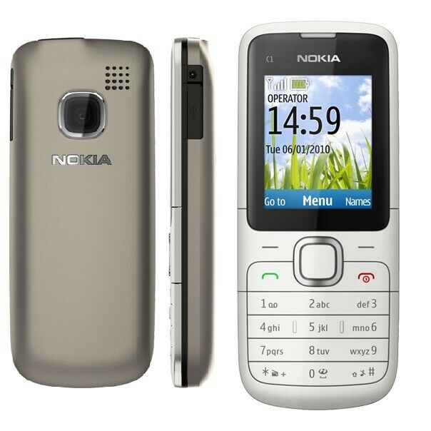 New Condition Nokia C1-01 Black Grey Unlocked Camera ...