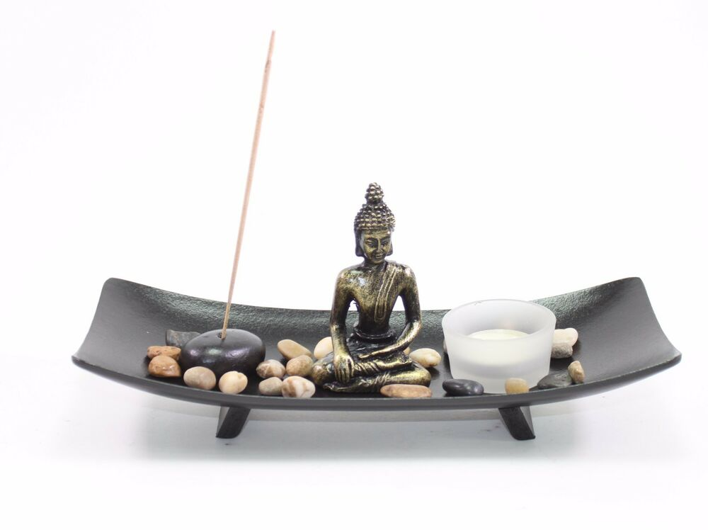 Tabletop zen garden buddha rock candle incense burner home for Home decor zen