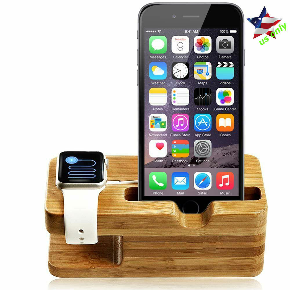 apple watch stand bamboo iwatch iphone cradle holder charging docking station ebay. Black Bedroom Furniture Sets. Home Design Ideas