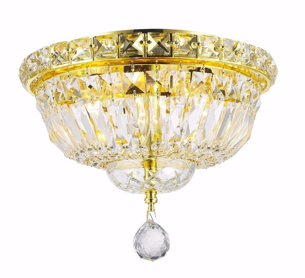 4 Lights D10 Quot X H8 Quot Gold Finish Empire Crystal Flush Mount