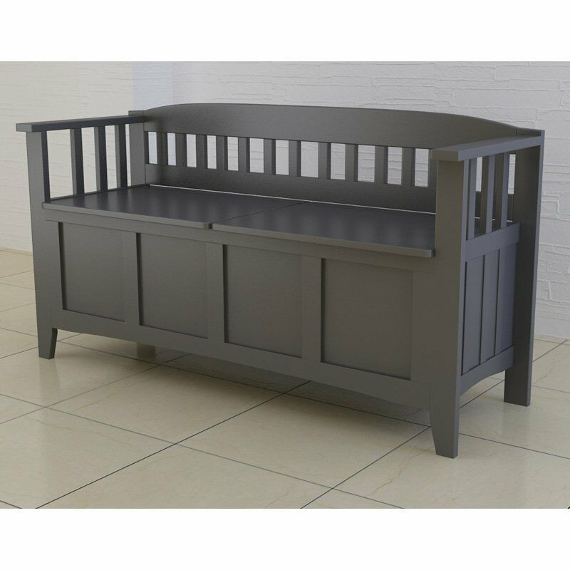 Wood Storage Bench Entryway Modern Accent Gray Hallway Foyer Organizer Chest New Ebay