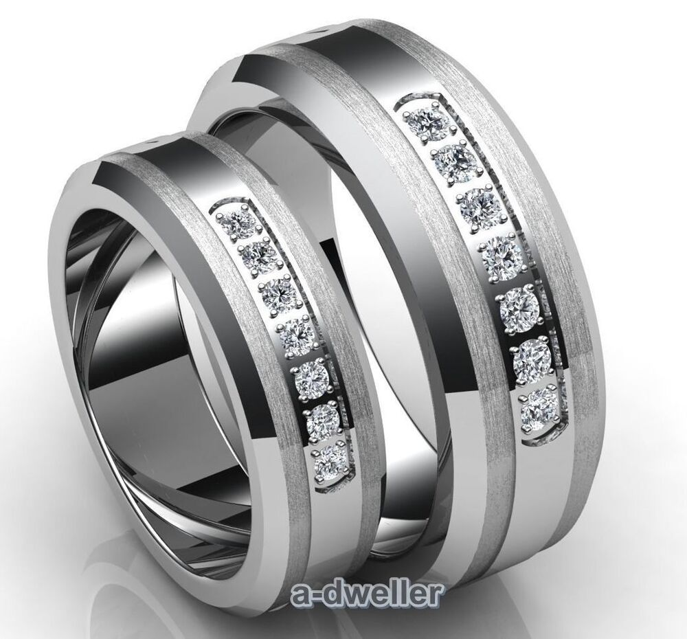 His & Her Tungsten Diamond Couple Wedding Band Anniversary Ring Set 0 75