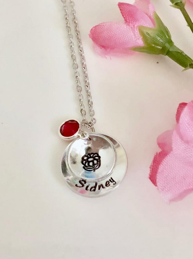 personalized necklace name flower necklace gift