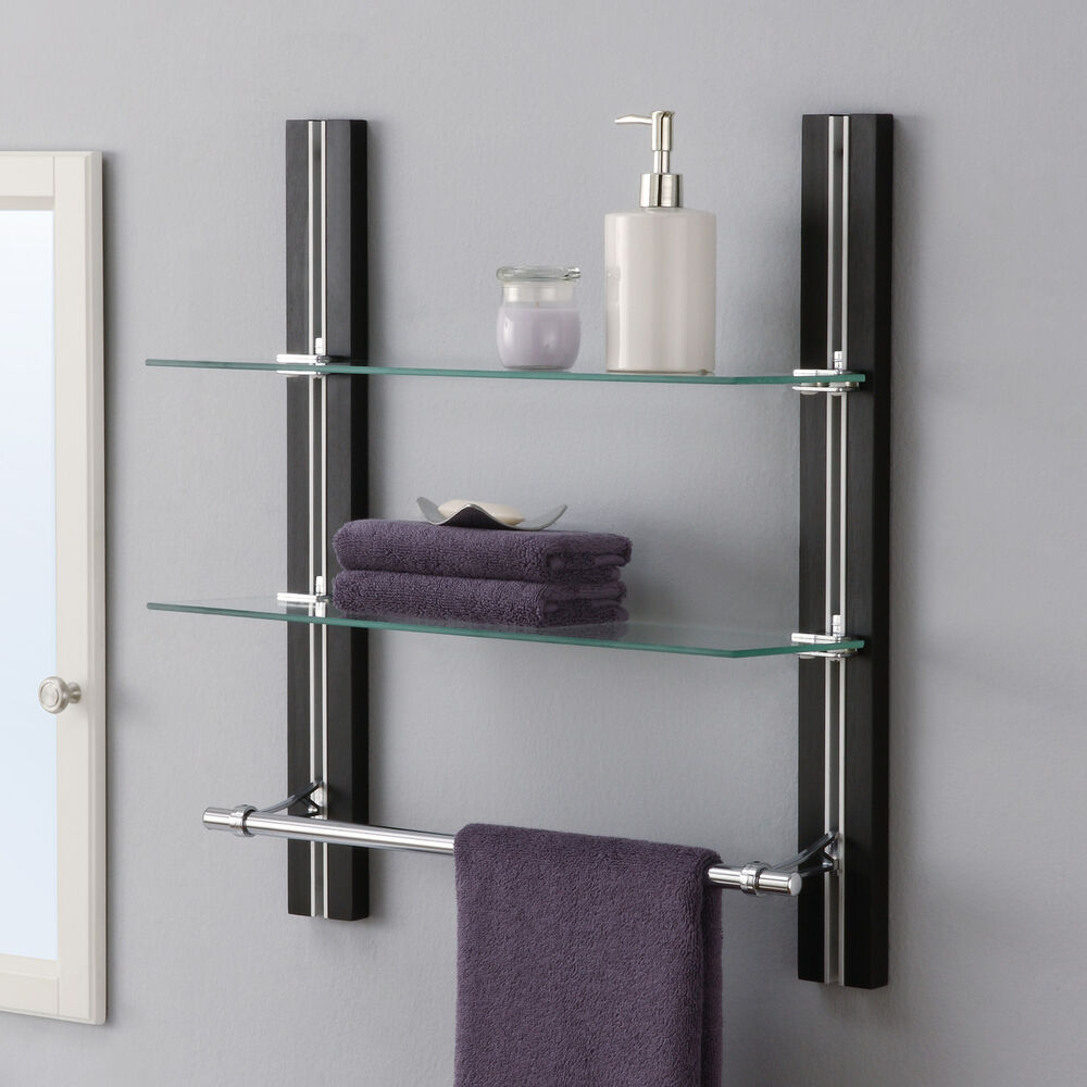 bathroom wall cabinet with towel rack bathroom shelf towel bar espresso glass wall mounted 11841
