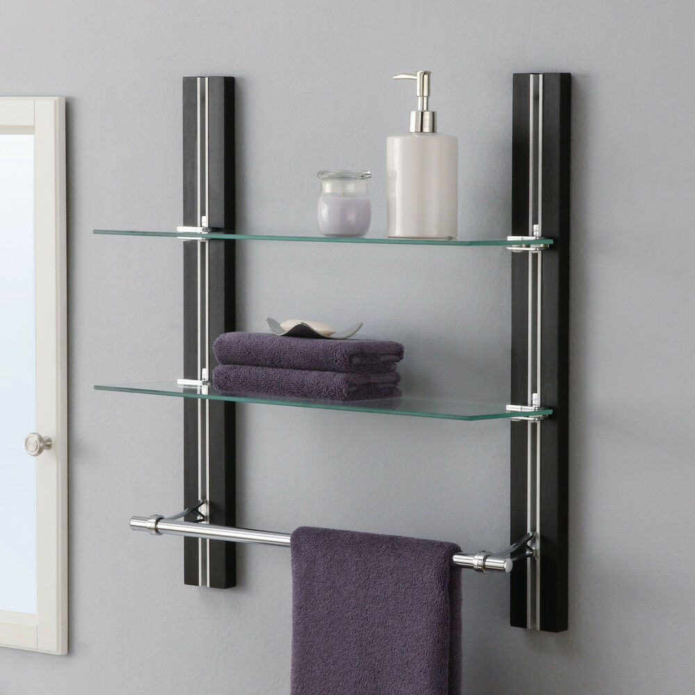 Bathroom Shelf Towel Bar Espresso Glass Wall Mounted Accent Organizer Stand New