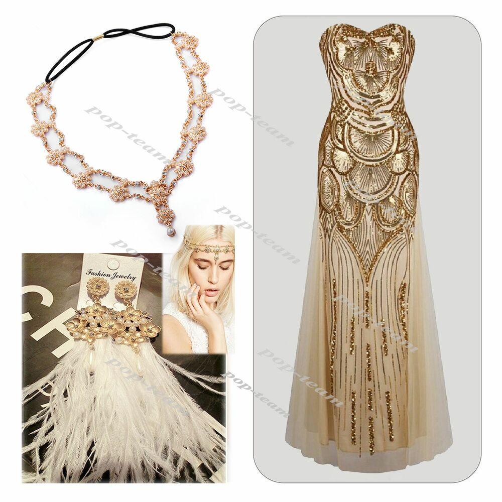 Roaring 20 39 S 1920 39 S Vintage Flapper Gatsby Charleston Sequin 30 39 S Style Dress Ebay