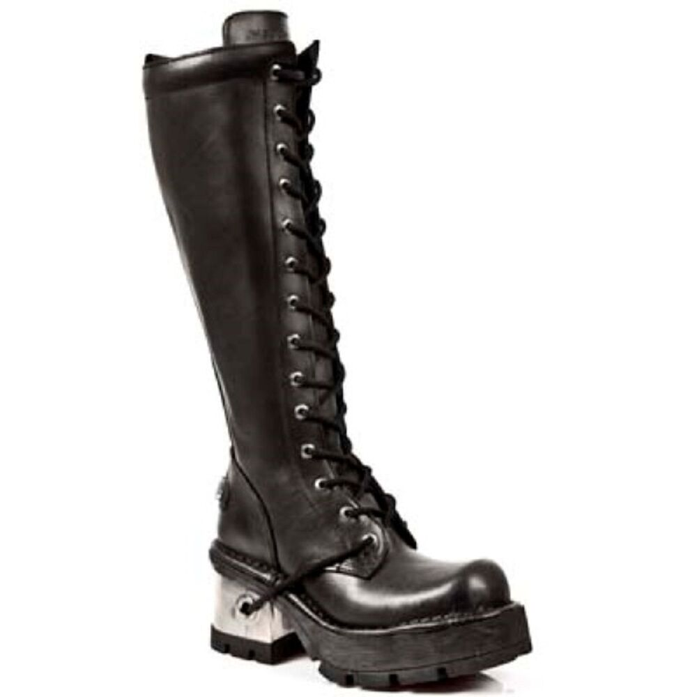 35e42701632d Details about New Rock M.236-S1 Ladies Black Leather Metal Heel Platform  Knee Lace Boots