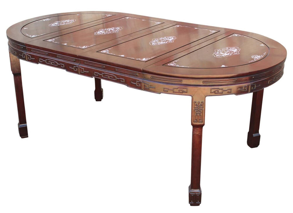 Vintage chinese rosewood and mother of pearl dining table