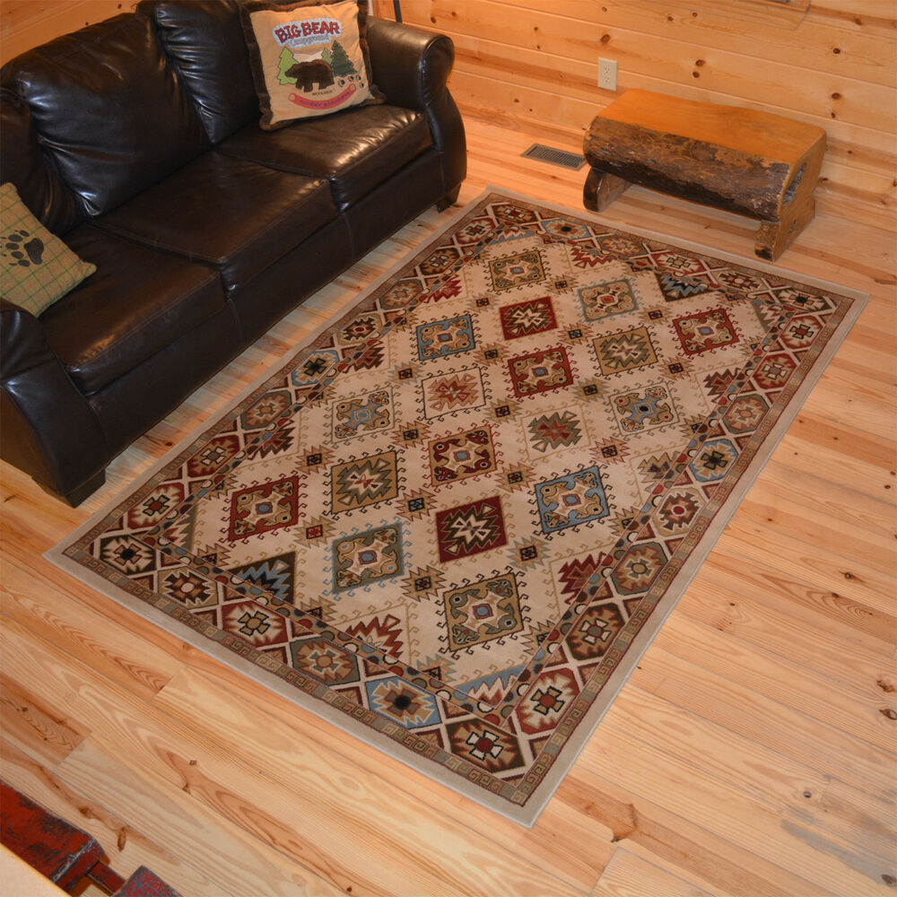 8x10 7 39 10 x 9 39 10 southwestern lodge cabin tribal area rug free shipping ebay. Black Bedroom Furniture Sets. Home Design Ideas