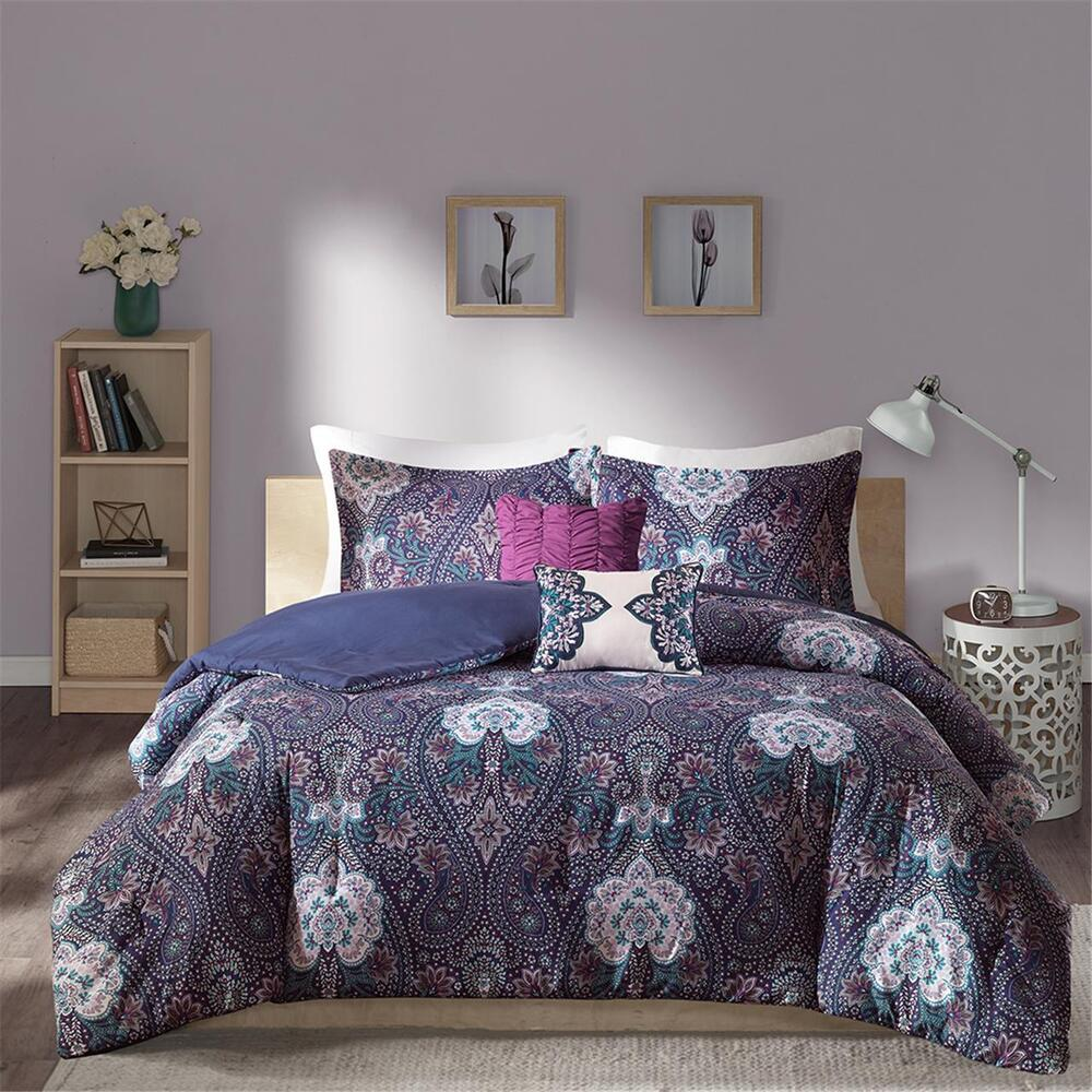 beautiful modern chic purple teal blue bohemian global comforter set full queen ebay. Black Bedroom Furniture Sets. Home Design Ideas