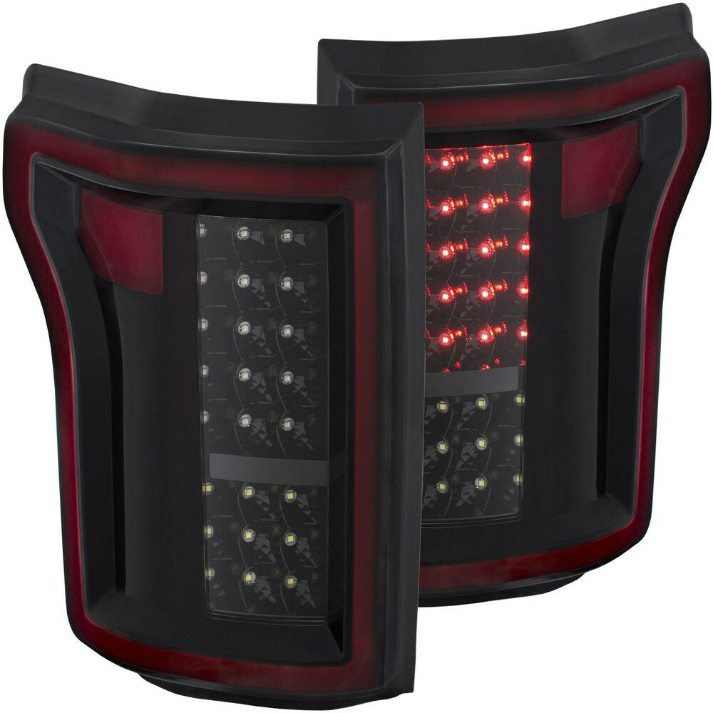 anzo usa l e d taillights black for 2015 2016 ford f 150 xl xlt ebay. Black Bedroom Furniture Sets. Home Design Ideas