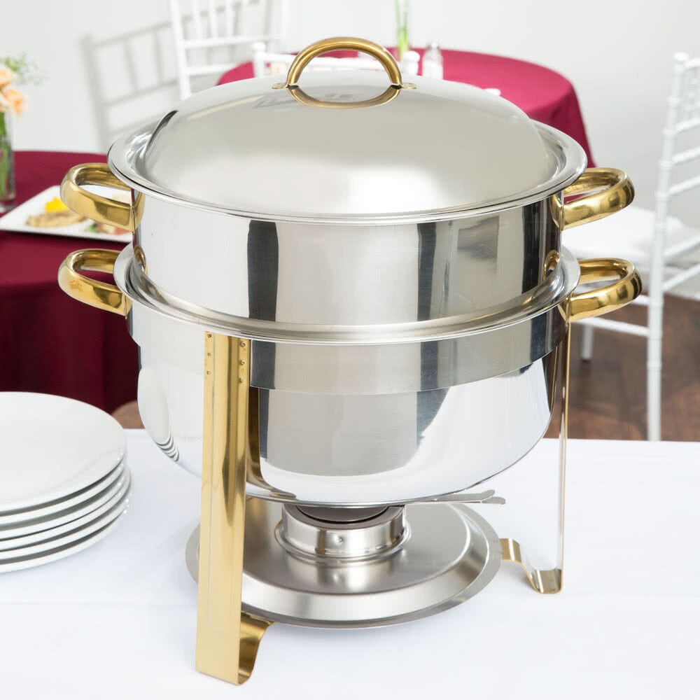 Small Commercial Food Warmer ~ Choice qt deluxe round gold accent stainless steel