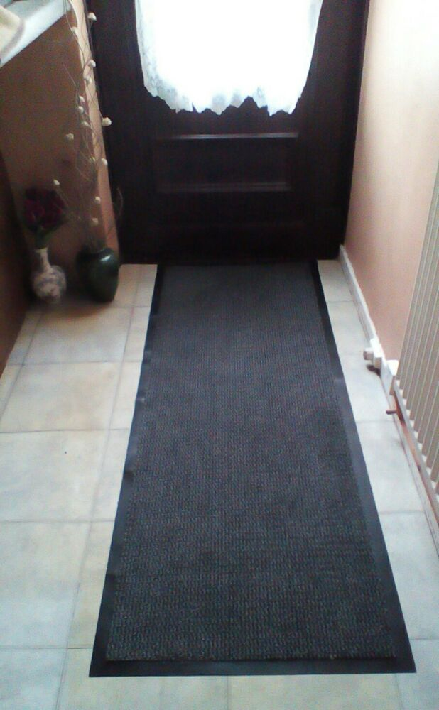 hallway carpet runner hall grey floor door barrier mat rug rubber back non slip ebay. Black Bedroom Furniture Sets. Home Design Ideas