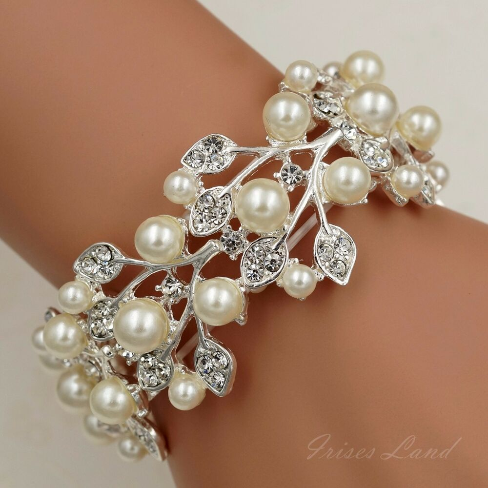 Cuff Bangle Bracelet: Silver Plated Pearl Clear Crystal Bridal Wedding Bangle